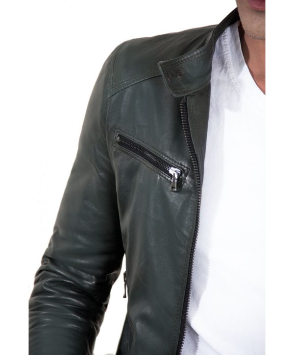 Green Vintage Effect Lamb Leather Jacket Four Pockets korean Collar