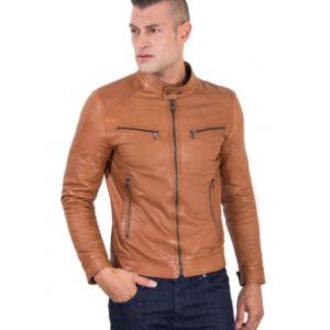 Tan Vintage Effect Lamb Leather Jacket Four Pockets korean Collar