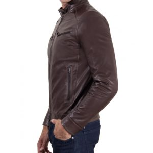 Brown Vintage Effect Lamb Leather Jacket Four Pockets korean Collar