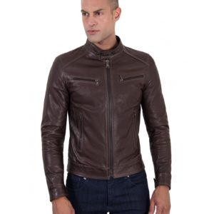 Brown Vintage Effect Lamb Leather Jacket Four Pockets Korean Collar