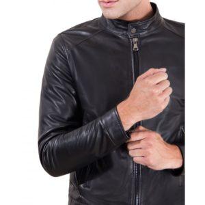 Black Nappa Lamb Leather Jacket Korean Collar