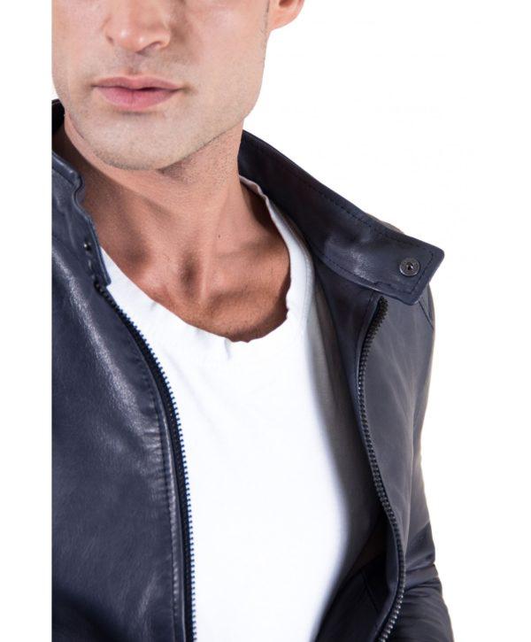 Blue Vintage Effect Lamb Leather Jacket Korean Collar