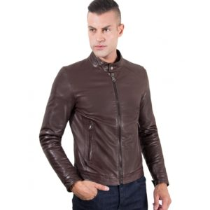 BROWN VINTAGE EFFECT LAMB LEATHER JACKET KOREAN COLLAR