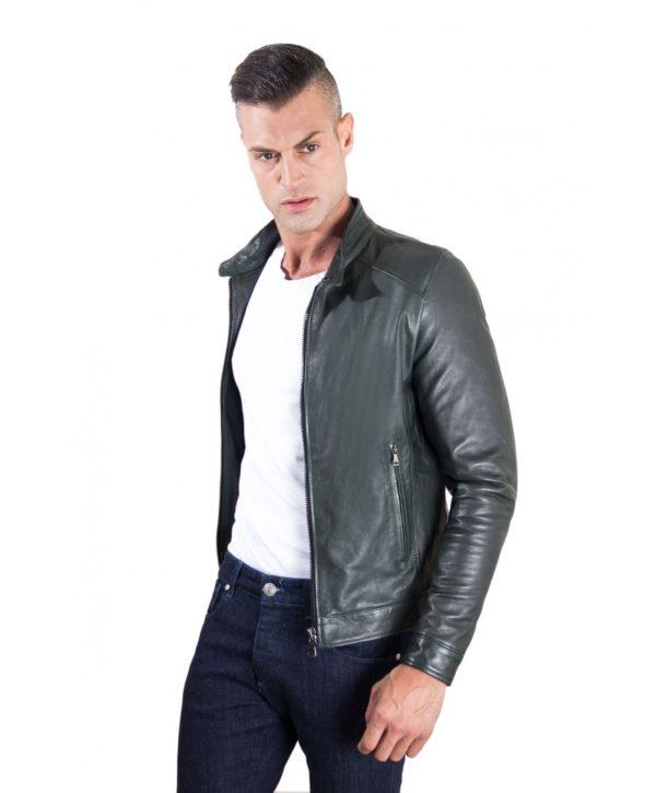 Green Vintage Effect Lamb Leather Jacket Korean Collar