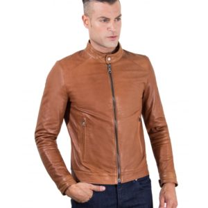 Tan Vintage Effect Lamb Leather Jacket Korean Collar