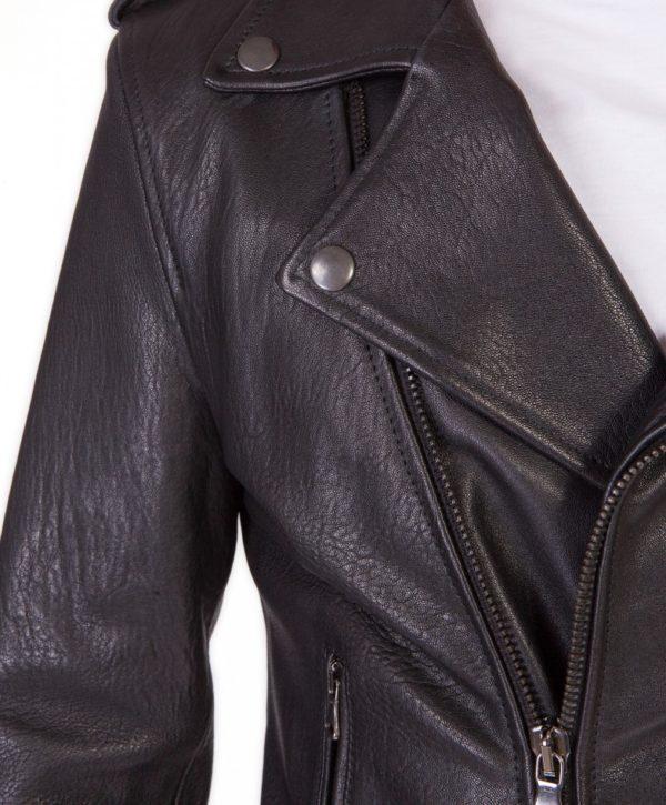 Black Perfecto Wizened Lamb Leather Biker Jacket