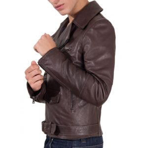Brown Perfecto Lamb Belted Leather Biker Jacket
