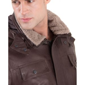 Brown Vintage Effect Lamb Leather Hooded Coat