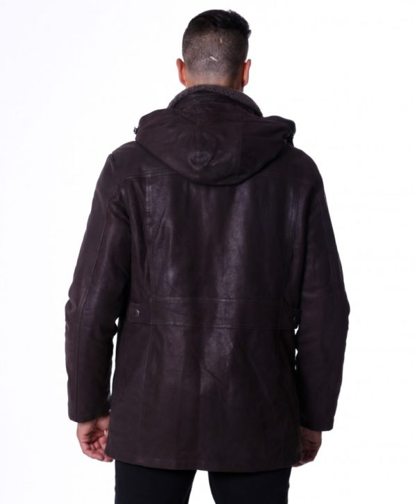 Brown Nabuk Lamb Leather hooded Coat