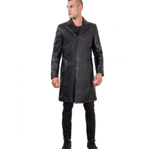 Black Lamb Leather Long Jacket