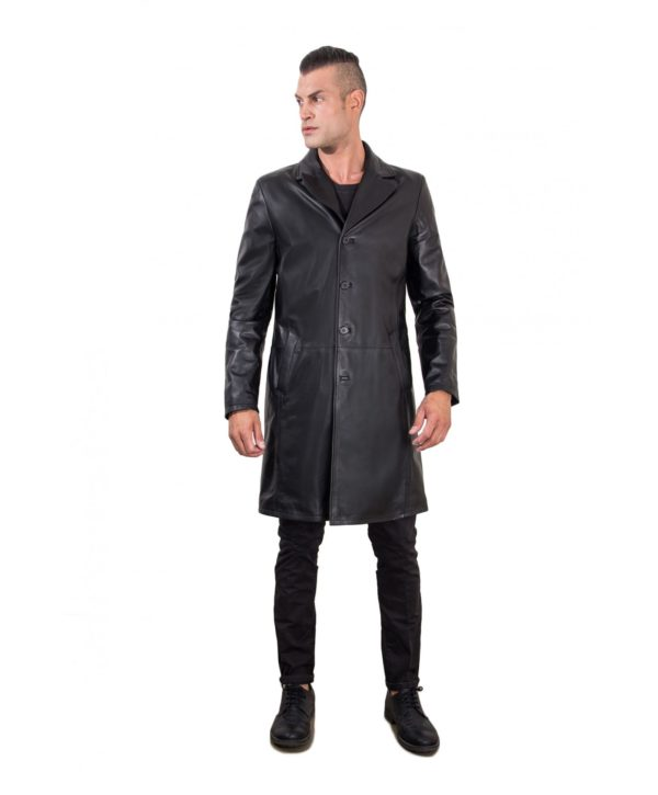 men-s-long-leather-jacket-genuine-soft-leather-2-pockets-buttons-closing-black-color-mod-032-matrix
