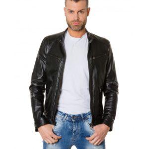 Black Colour Lamb Leather Jacket Smooth Aspect