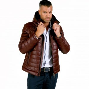 Red Purple Color Nappa Lamb Leather Hooded Down Jacket