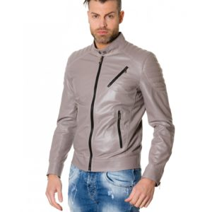 Grey Nappa Lamb Leather Biker Quilted Jacket