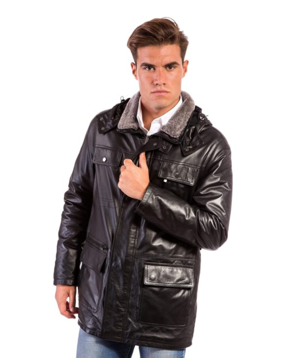 Black Leather Hooded Coat