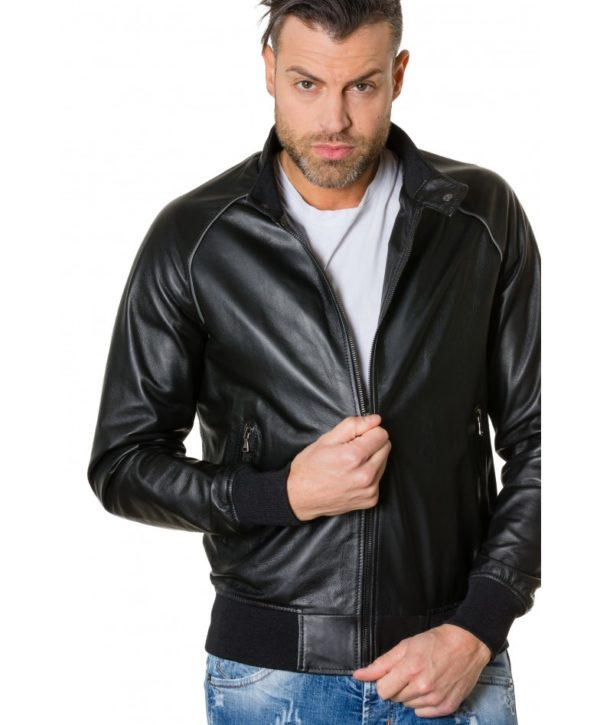 1066-black-colour-leather-bomber-jacket-smooth-aspect