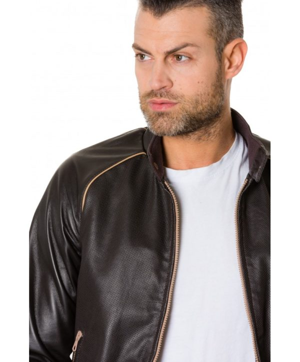 Dark Brown Colour – Perfored Leather Bomber Jacket Smooth Aspect