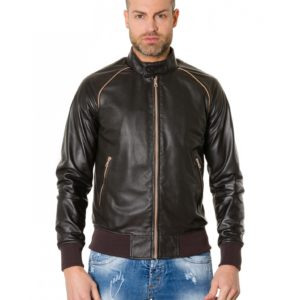 Dark Brown Colour - Perfored Leather Bomber Jacket Smooth Aspect
