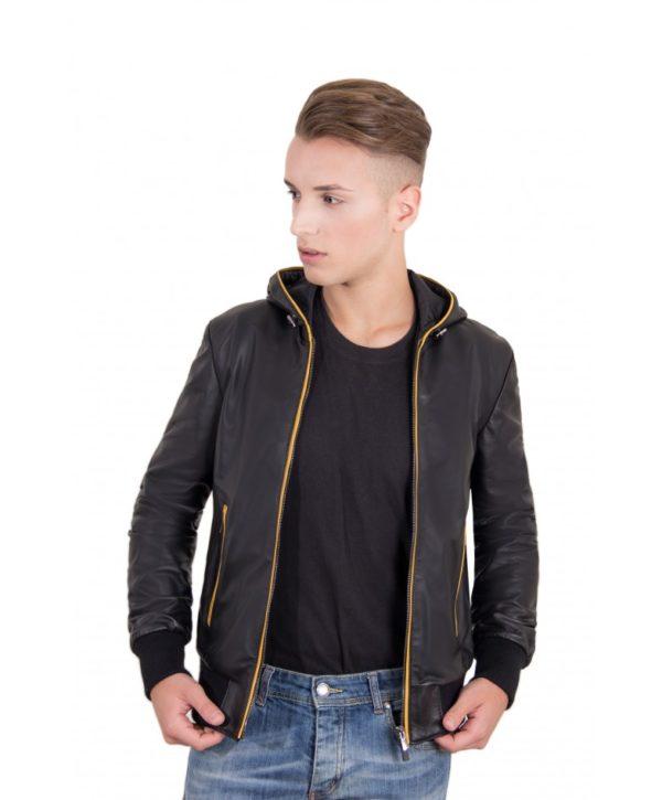 biancolino-black-color-nappa-lamb-leather-hooded-bomber-jacket (2)