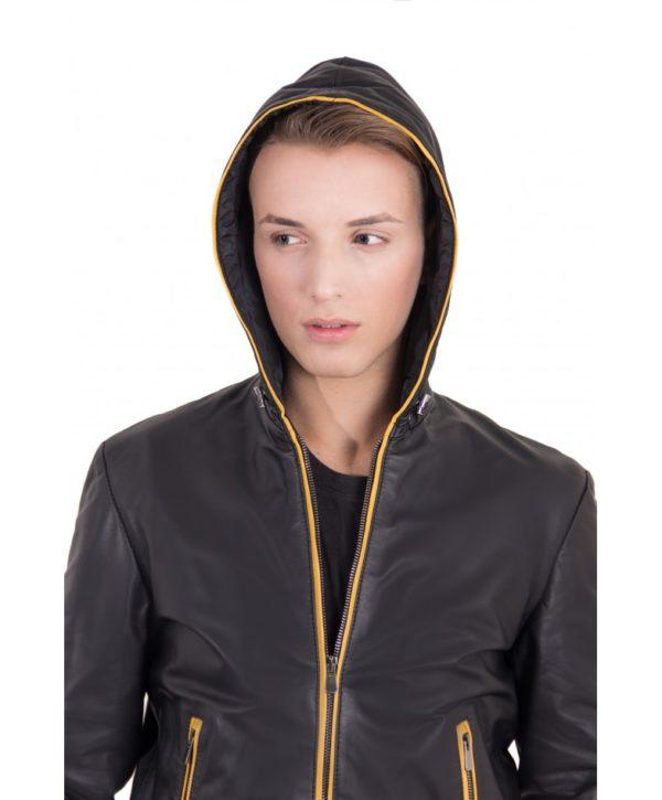 biancolino-black-color-nappa-lamb-leather-hooded-bomber-jacket (4)