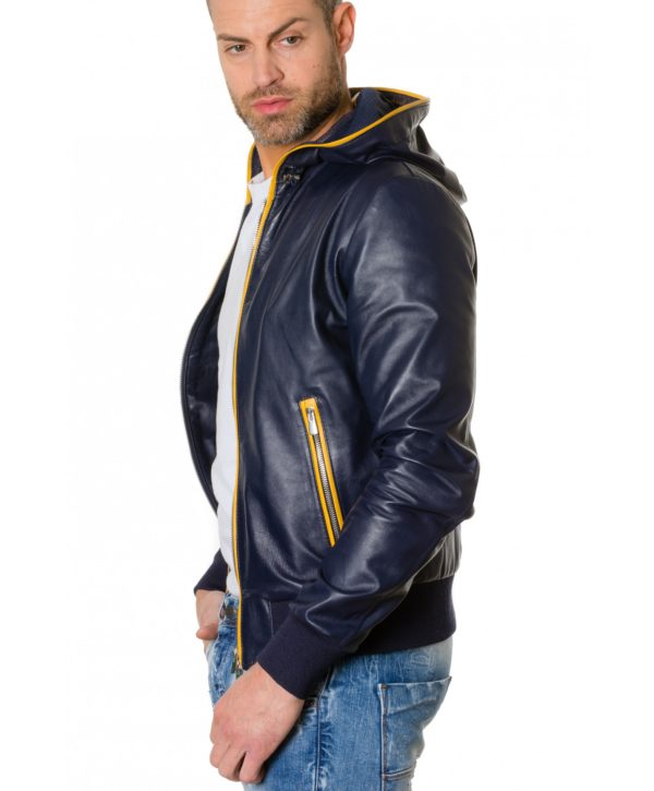 Blue/Yellow Colour Lamb Leather Hooded Jacket Smooth Aspect