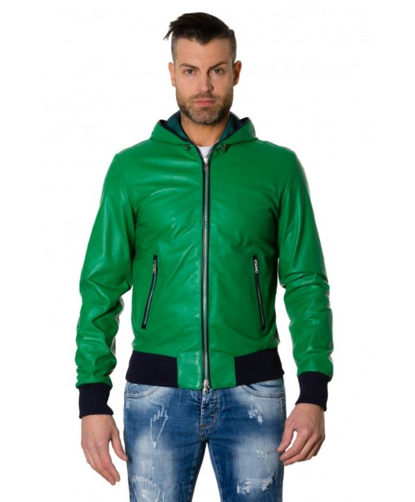 Green/Blue Colour Lamb Leather Hooded Jacket Smooth Aspect