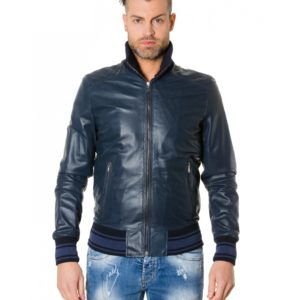 Blue Colour Perforated Leather Jacket Bicoloured Collar