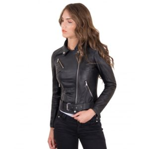 Black Color - Nappa Lamb Leather Belted Jacket Smooth Effect