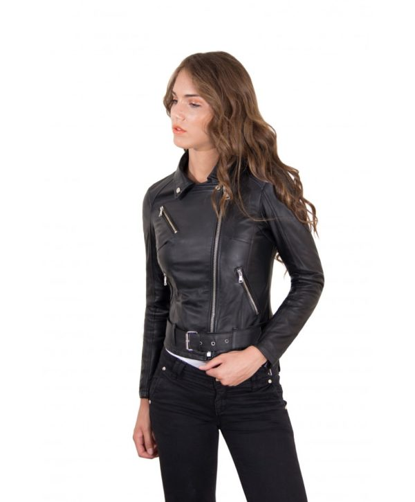 Black Color – Nappa Lamb Leather Belted Jacket Smooth Effect