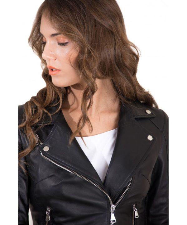 Black Color Nappa Lamb Leather Belted Jacket Smooth Effect