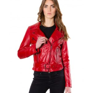 Red Color Nappa Lamb Leather Perfecto Biker Jacket Smooth