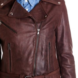 Brown Color Nabuk Lamb Leather Perfecto Biker Jacket Vintage.