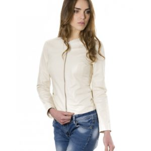 Beige Color Lamb Leather Round Neck Jacket