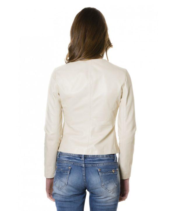 Beige Color Lamb Leather Round Neck Jacket