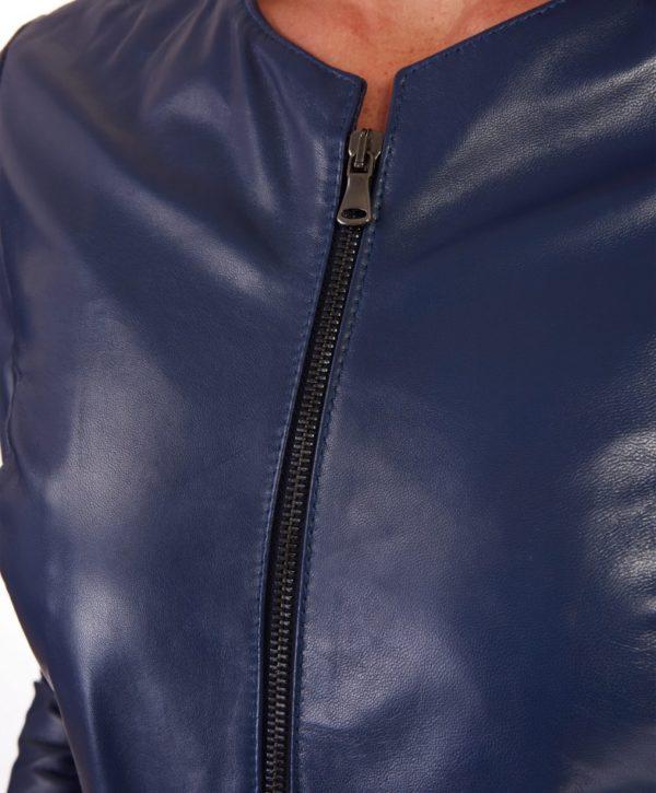Bluette Color Lamb Leather Round Neck Jacket