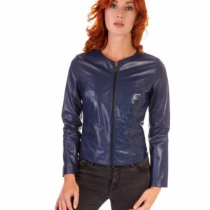 Bluette Color Lamb Leather Round Neck Jacket