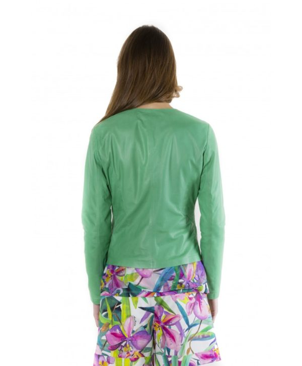 Green Color Lamb Leather Round Neck Jacket