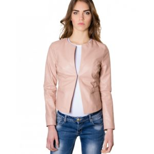 Powder Color Lamb Leather Round Neck Jacket