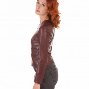 Red Purple Color Lamb Leather Round Neck Jacket
