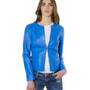 Sky Blue Color Lamb Leather Round Neck Jacket