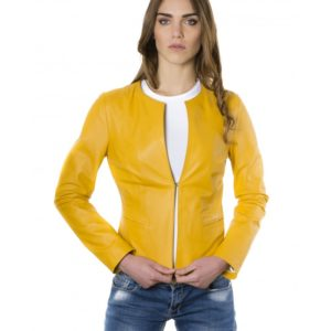 Yellow Color Lamb Leather Round Neck Jacket