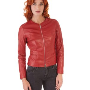 Red Color Lamb Leather Round Neck Jacket