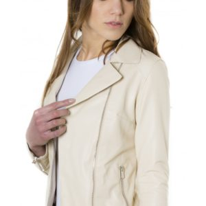 Beige Color Nappa Lamb Leather Jacket Smooth Effect