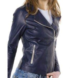 Blue Color Lamb Leather Jacket Vintage Effect