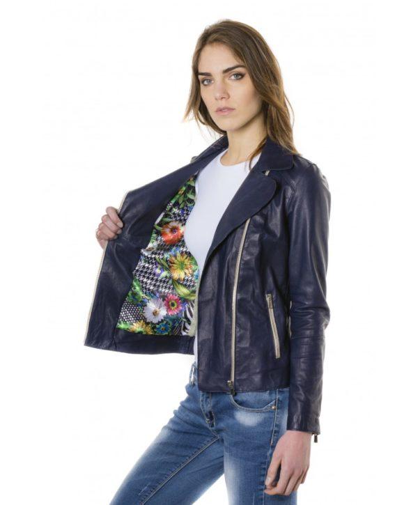 Blue Color Lamb Leather Jacket Vintage Effect