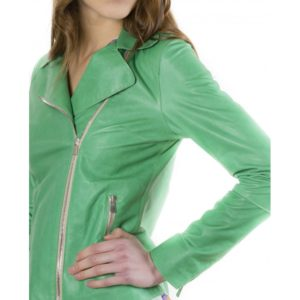 Green Color Lamb Leather Jacket Vintage Effect