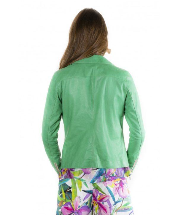 Green Color Lamb Leather Jacket Vintage Effect