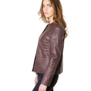 Brown Colour Women Lamb Leather Jacket Smooth Aspect