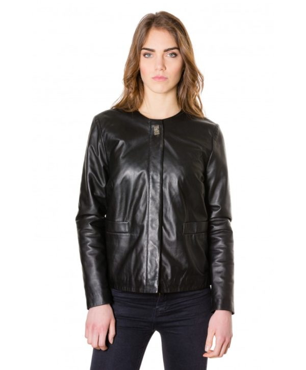 f102-black-colour-woman-lamb-leather-jacket-smooth-effect