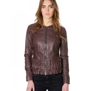 Brown Color Nappa Lamb Leather Rouches Jacket Smooth Effect